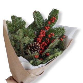 новогодний букет из норвежского нобилиса, новогодний букет, купить букет дешево, доставка букетов из ёлки москва
