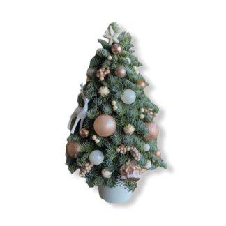 Живая новогодняя ёлка из нобилиса, ёлочка из лапника, купить живую ёлочку недорого с доставкой по Москве, купить ёлку, ёлочная композиция купить дёшево, живая ёлка, подарки на новый год, новогодние подарки, новогодний букет купить в Москве