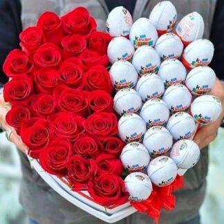 Букет из роз ввиде сердца, Красные розы, Киндер сюрприз, Десткий подарок, Подарки на 14 февраля, Валентинка, Букет из цветов и шоколада, цветы Москва, Букет на день Святого Валентина