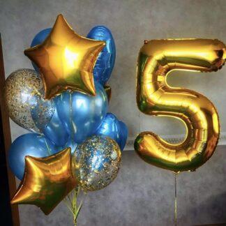 Воздушные шары для мальчика с доставкой по Москве, Шар цифра 5, шарики с цифрой пять купить недорого, шарики с гелием, Воздушные шары для мальчика недорого, шары Москва