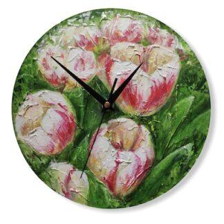 Настенные часы Тюльпаны авторская работа, подарок на 8 марта, Часы для интерьера купить недорого, подарки Москва, авторские работы для декора интерьера, Часы в стиле прованс, подарок для женщины, подарок для учителя, подарок для бабушки