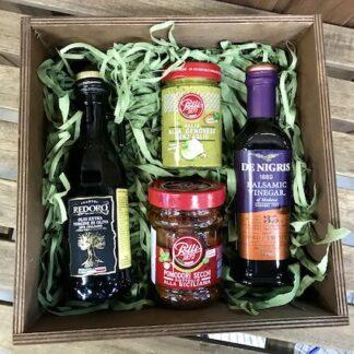 подарочный набор с итальянскими продуктами, корпоративные подарки, подарочные наборы для мужчин, Подарочные наборы для женщин, Песто, бальзамический соус, оливковое масло, преферито, Preferito, продуктовый набор заказать с доставкой по Москве