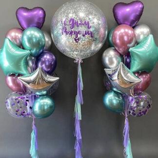 Воздушные шары с гелием заказать, Шарики купить, хромированные шары, Доставка шаров, Шар гигант с конфетти, бирюзовые шары купить