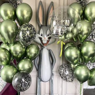 Воздушные шары хромированные зелёные, шарики с геоием, Шар фигура Кролик Багз Банни