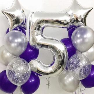 Воздушные шары с гелием, Фиолетовые шары, Серебрянные шарики с гелием, шар цифра фольга 5, шарик цифра пять, фольга звёзды серебрянные