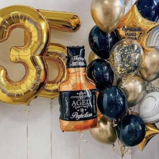 шары с гелием для мужчины, вздушные шары на юбилей мужчины, шар фигура Виски, чёрные шары с гелием, преферито