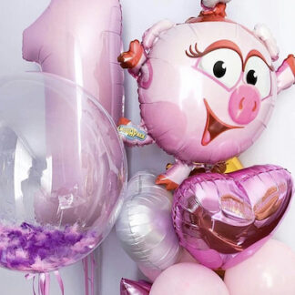 Шарики со смешариками, Шар фигура Нюша, шары с гелием, купить шарики с доставкой по Москве, Шары для девочки заказать, шар цифра 1, розовые шары с гелием, шар Нюша