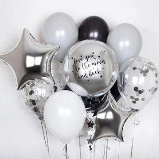 Связка из воздушных шаров с гелием серебро, Шарики для мальчика, доставка шариков на дос, купить шары недорого