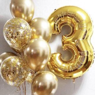 Воздушные шары с гелием золотого цвета, шарики с гелием и цифрой, шар цифра 3, доставка шаров на дом заказать в Москве