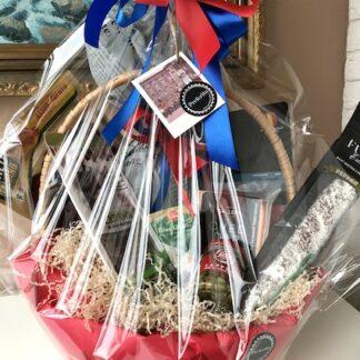 Подарочная корзина с продуктами, продуктовая подарочная корзина, корзина для мужчин, Подарочная корзина с колбасой и сыром, Преферито, Preferito