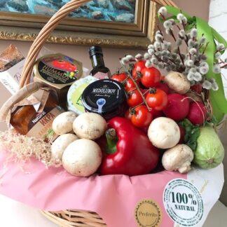 Постная подарочная корзина, Продуктовая корзина с постными продуктами, Подарок для вегетарианца, Подарок для бабушки, Подарочная корзина, Продуктовая корзина, Преферито, Preferito, пасхальная корзина