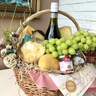 подарочная корзина, Фруктовая подарочная корзина, Сырная подарочная корзина, Продуктовая корзина, Преферито, Preferito, Женская подарочная корзина, Подарок для женщины, Подарок на 8 марта, подарки
