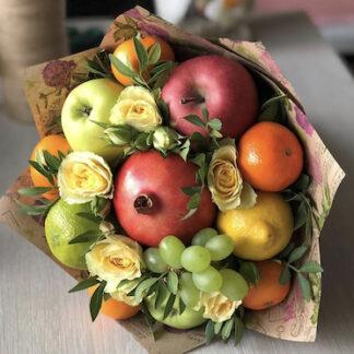 Букет из фруктов, букет из цветов и фруктов купить, купить букет на линейку в школу, Съедобные букеты для женщин, букет для учителя, Букет на 1 сентября