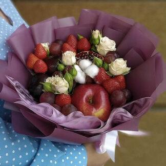 Букет из фруктов и цветов, Фруктовый букет, съедобные букеты для женщин, купить недорого букет в школу, букет для учителя, букет на 1 сентября, букет на 8 марта, букеты Москва