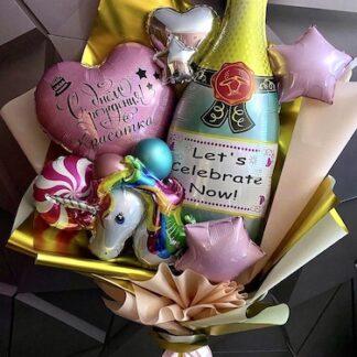 Букет из шаров с единорогом, детский букет из шаров, купить букет для девочки, детский букет, букет из шариков заказать