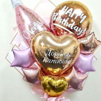букет из шаров на день рождения, купить необычный букет с доставкой по Москве, Оригинальный подарок для подруги, шарики, Воздушные шары, Доставка шаров по Москве