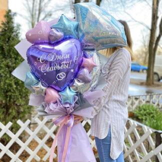 Букет из шаров на свадьбу, необычный подарок на свадьбу, Оригинальный подарок на свадьбу, букет из шариков на свадьбу, свадебный подарок