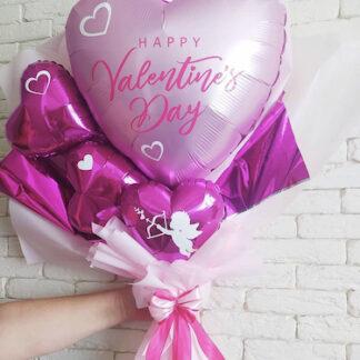 Букет из шаров на 14 февраля, Подарок для девушки на 14 февраля, букет из шариков купить