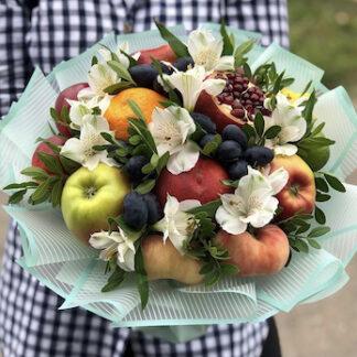 Букет из фруктов, Съедобный букет для женщины, Букеты по Москве, Купить букет с фруктами, Букет для учителя, Букет в школу, Букет на 1 сентября