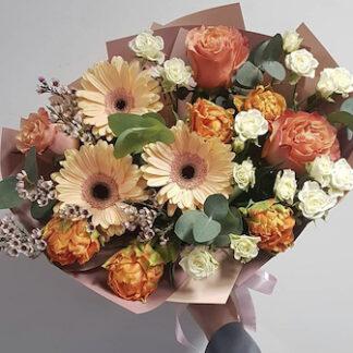 Осенний букет из цветов для учителя заказать, купить цветы для учителя, доставка букетов по Москве, Букет на 1 сентября, Цветы Москва