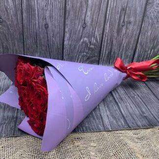 Заказать красные розы с доставкой по Москве, Букет из красных роз, букет на 14 февраля, Цветы Москва, заказать цветы, розы недорого, Букет для учителя