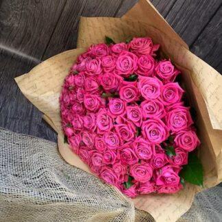 Букет из розовых роз, 51 роза купить недорого с доставкой, цветы купить, розы6 букет на 8 марта, букет для учителя, букет для девушки, преферито, preferito розовые розы