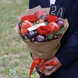 Букет для школьника, букет из фруктов, Букет в школу, букет для учителя, Букет на 1 сентября дёшево, Доставка недорогих букетов по Москве, Школьная линейка, букет на линейку заказать