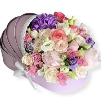 букет цветов на выписку из роддома, букет в коляске на рождение девочки, Подарок в виде коляски на рождение девочки, цветы на выписку, Цветы доставка, Коляска, Цветы в коляске, рождение ребёнка подарки