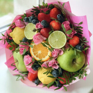 Фруктовый букет, букет из фруктов, Съедобные букеты для женщин, букет на 8 марта, Букет для учителя, букет на 1 сентября, букет в школу, заказать цветы недорого, Цветы Москва