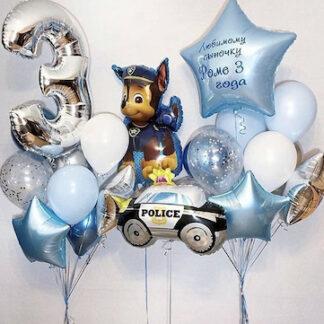 Сет из шаров щенячий патруль, шарики щенячий патруль купить, шар полицейская машина купить, оформление детского праздника шарами, Щенячий патруль купить шарики с гелием, доставка воздушных шаров