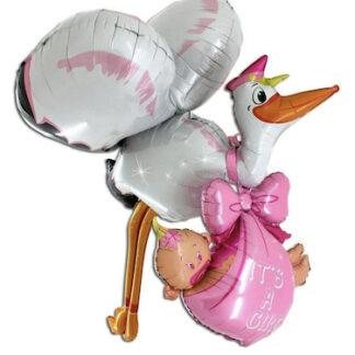 Шар фигура из фольги аист с девочкой, шар фольга на выписку ребёнка из Роддома, шарики на рождение девочки купить срочно, доставка шаров на рождение ребёнка, Воздушные шары на рождение девочки, шар фигура в виде аиста