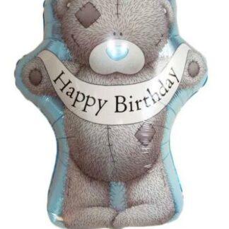 Шар из фольги фигура мишка Тедди, купить шарик с Мишкой, шар на день рождения, Доставка воздушных шаров по Москве, Заказать шарики с гелием с мишкой, шарик для мальчика