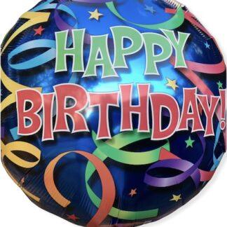 Шар из фольги круг Happy Birthday, Шарик с гелием для мальчика на день рождение купить, Шар из фольги синий хэппи бёздэй, Шар круг 81 см, доставка шаров с гелием для мальчика