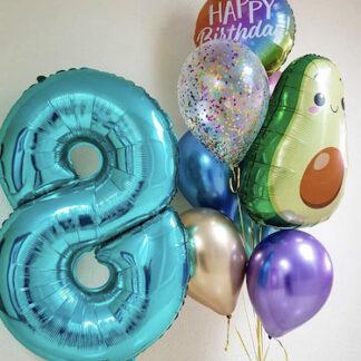 Связка из шаров с авокадо, шар авокадо, шар цифра 8, Шарики на день рождения, купить шары недопого, шары с гелием заказать в Москве