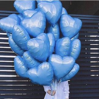 Шарики сердце, Шар сердце фольга голубого цвета купить, Связка шаров из сердец, Подарок на 14 февраля, шарики с гелием в виде сердца, Купить шары с доставкой по Москве