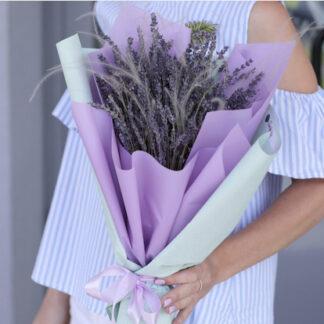 Букет из лаванды, Букет для учителя купить, Букет из сухоцветов, Крымская лаванда
