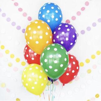 Цветные шарики в горошек купить с доставкой, Цветные шары с гелием, Шарики с рисунком цветные, заказать доставку шаров