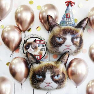 Воздушные шары с сердитым котом, Шары с кошкой купить, Шар кошка в колпаке, шар фигура сердитая кошка купить, Шарики с кошками, Доставка воздушных шаров на праздник, шар кошка