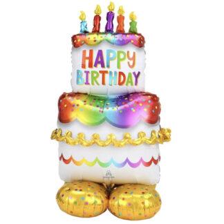 Стоячий большой шар фигура из фольги Торт 134 см., Шарик из фольги торт, Шар в виде торта, Огромный шар на день рождения, шар торт в полный рост ребёнка, Ходячий шар торт