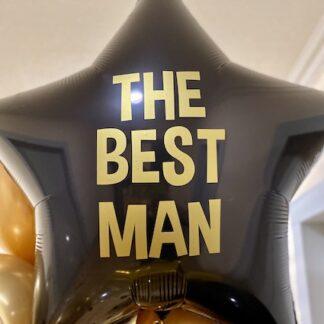 """Шар из фольги """"Звезда"""", Большой шарик с надписью для мальчика купить, чёрный шарик ввиде звезды, фольгированная звезда большая чёрная 91 см., доставка шаров по Москве, Воздушные шары для мужчины"""