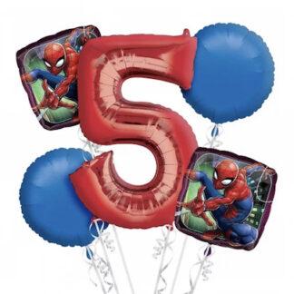 Фольгированные шары человек паук, шарики с человеком пауком купить, шар цифра 5, шарики для мальчика заказать, шар человек-паук