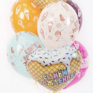 Связка из шаров с пироженым, шарики с десертом купить, шарики для девочки купить, заказать воздушные шары с доставкой, Купить шарики с гелием