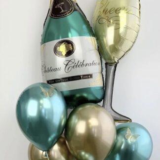 Воздушные шары купить, Связка из шаров, бирюзовые и золотые шарики, Шар бутылка шампанского, Шар бокал шампанского из фольги купить, Подарок на день рождения, украшение праздника шарами