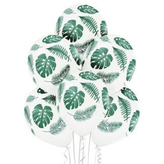 Белые воздушные шары с листьями, шарики с тропическими листьями, Белые воздушные шары с рисунком, шарики с гелием купить, оформление праздника шарами
