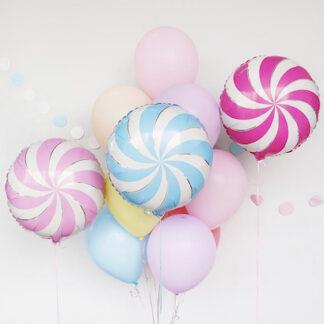 Связка из шаров, Нежные шарики с гелием, шарики карамель, шар фигура из фольги конфета, Доставка воздушных шаров, шары купить, шарики для девочки